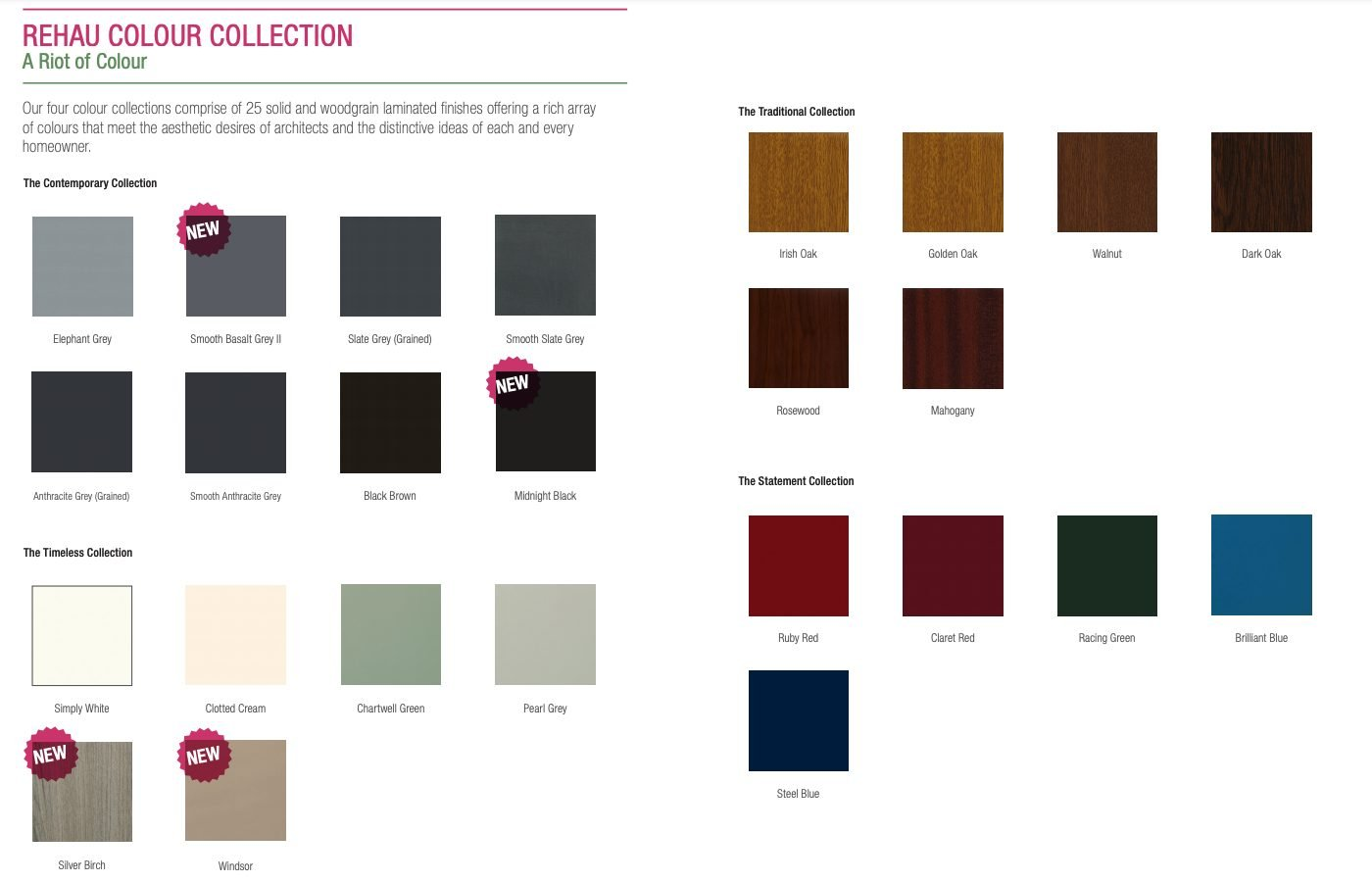 Rehau Colour Options